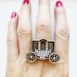 Vintage Anthro chunky silver stagecoach ring